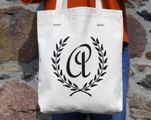 Custom Eco Tote, personalized monogram tote, hand painted, reusable tote, Made in USA, American Apparel, Bull Denim Cotton Tote