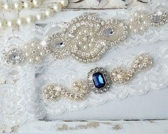 Wedding Garter, Garter Set, Blue Garter, Bridal Garter Set, Lace Garter, Blue Wedding Garter, Blue Stone Garter Set, Agatha Style 10528