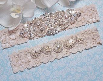 Garter Wedding, IVORY Wedding Garter Set, Bridal Garter, Lingerie, Garter Set, Petite -Plus Size Garter, Lace Applique Garter, Prom Garter
