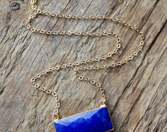 Gold Edged Lapis Stone Necklace