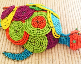 African Wire and Bead Art - TORTOISE - Gorgeous Coiled Beading - A Truly Beautiful Piece!!