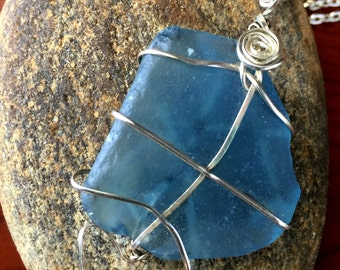Blue sea glass wire wrapped pendant necklace