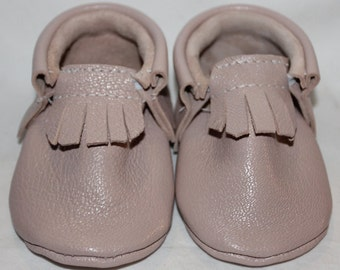 Genuine Leather Pale Pink Baby Moccasins