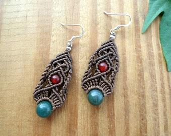 Moss agate macrame earrings, micro macrame, carnelian earrings, macrame jewelry, gemstone earrings, moss agate jewelry, hippie earrings