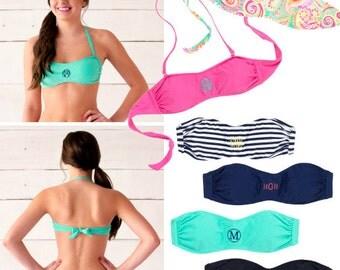 Monogram Bandeau Women's Bathing Suit- Top and Bottom options- Swim Suit
