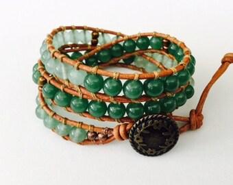 CatMar Beaded Green Aventurine Wrist Wrap Bracelet on Brown Greek Leather Cord with Button/Loop Closure.