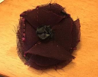 Plum Rosette Flower Pin