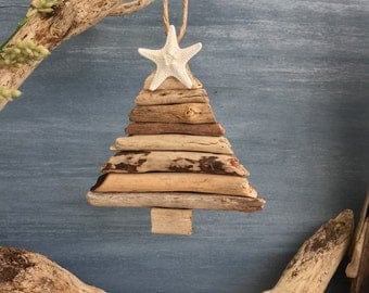 Driftwood Christmas Tree Ornament / Small Coastal Decor
