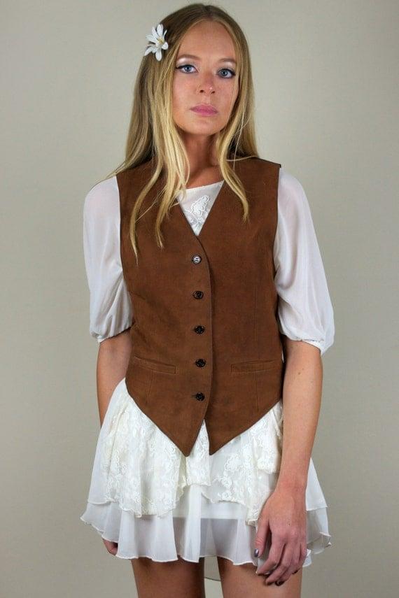 Vintage Women's Brown Button Down Leather Vest