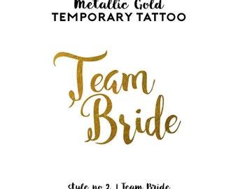 Team Bride Bachelorette Tattoos | Metallic Gold Temporary Tattoos for Bachelorette Party Favors, Pineapple Flamingo Tattoos, Gold Foil Tats