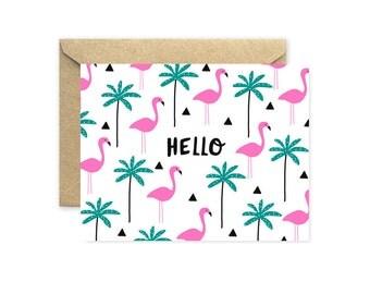 Flamingo Greeting Card, Hello Flamingo Palm Tree Pattern
