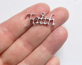 6 Faith Charms - Antique Silver - Faith Pendants - #S0200