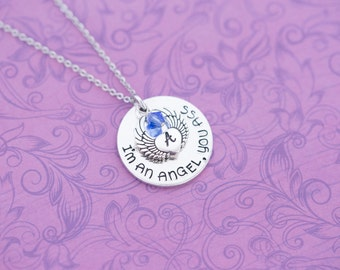 """Hand Stamped """"I'm an Angel, You Ass"""" Angel Wing Memorial Pendant - Hand Stamped Jewelry - Supernatural - Mature - Castiel"""