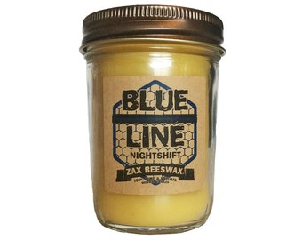 """Blue Line """"Night Shift"""" Scented Beeswax Mason Jar Candle   8 oz"""