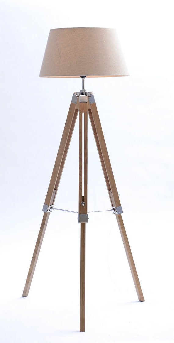 Tripod floor lamp with linen shades by neworientallighting for Tripod floor lamp with tartan shade