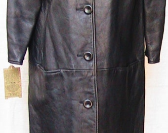 60s Small Collarless Long Leather Coat  WWC041