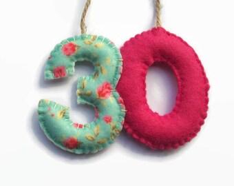 30th Birthday Gift for Her, Birthday Banner, Felt Numbers, 30th Birthday Decorations, Keepsake Gift
