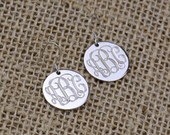 Monogram Earrings,Sterling Silver Circle Monogram Earrings,Silver Monogrammed Personalized,Engraved Monogram Earrings,Initials Earrings E006