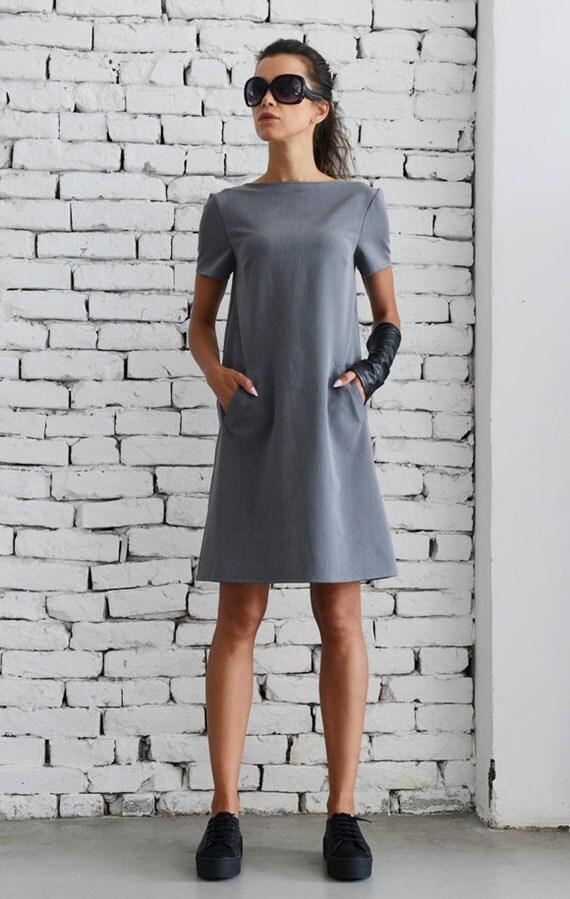 Grey Mini Dressshort Work Dresselegant Short Sleeve