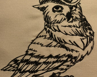"Embroidered "" Dapper Owl""Decorative Pillow on Sunbrella Natural."