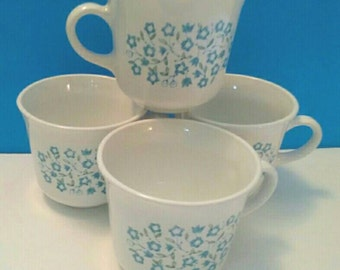 Beautiful Set Of Four Vintage Corelle Livingware Expressions Cups, Blue Heather Corelle Cups, Corning, Vintage Cup Set, Never Used.