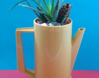 Repurposed Retro/Vintage Cornwall Coffee Pot Planter With Aloe Plant, Upcycled, Aloe Plant, Repurposed, Vintage Cornwall Coffee Pot.