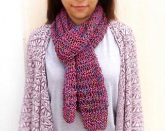 Hand Knit Light Scarf, Multicolor Knit Scarf, Multicolor Skinny Scarf, Pink Knit Scarf, Lace Summer Scarf, Dark Pink Scarf