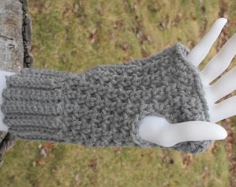 Gray Grey Crochet Short Fingerless Gloves Handwarmers Texting Gloves Ready To Ship
