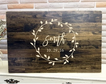 Engraved Guest Book Alternative, Unique Wedding Guestbooks, Wedding Guestbook, Wood Guestbook Sign, Wreath Sign