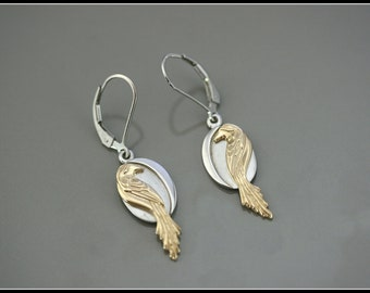 Silver and gold bird earring, silver and gold phoenix earring, symbolic women jewelry, unique handmade, 14 k solid gold,  artistic creation