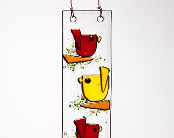 Trio Birds in Red and Yellow Handmade Fused Glass Suncatcher Ornament