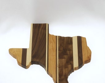 Solid Hardwood - Texas Cutting Board - Cutting Board in the Shape of TX made out of Hardwood - Cheese Board
