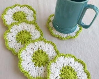 Crocheted Green & White Coasters, Set of 5