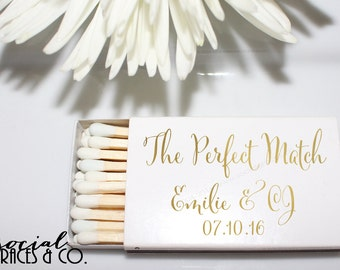 Perfect Match Metallic Foil Wedding Favor Matches • White Matchboxes • Hot Stamped Foil from Social Graces & Company Party Paper Presents