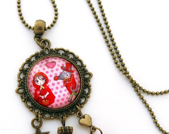 Locket pendant Red Riding Hood and Wolf