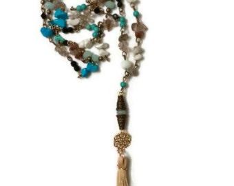 Long Tassel Necklace, Long Boho Necklace, Boho Tassel Necklace, Long Statement Necklace, Long Pendant Necklace, Long Gemstone Necklace