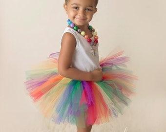 Rainbow tutu, Red, Orange, Yellow, Blue, Green, Purple, Preemie, Newborn to 14/16 teen, multi color tutu, Rainbow party, Rainbow, Bright