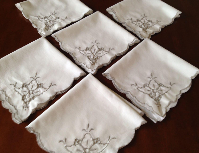 Six White Linen Napkins Vintage White Linen Napkins