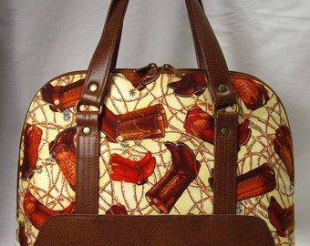 "READY to Ship-- ""The Boronia"" Domed Hand Bag/Purse-Cowboy/Cowgirl Boot print on Cream Background and Faux Leather"