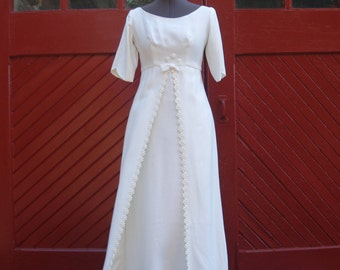 Vintage 1960's White Raw Silk Full Length Empire Waist Wedding Dress With Small Embroidered Flowers and Elbow Length Cap Sleeves