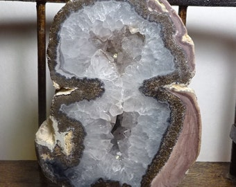 Alien Spaceman Geode Double Chamber With Crystals Over a Pound 1970s