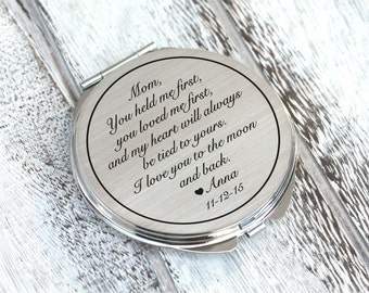 Personalized engraved pocket mirror | compact mirror | wedding gift | mother of the bride gift | birthday, today a bride