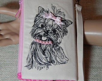 Yorkie Lovers/Wristlet Wallet/Clutch/Handmade/Gifts for Her/Gifts for Mothers Day