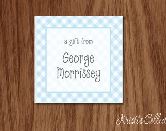 Gingham Calling Cards Gift Tags Stickers, Personalized Boys Girls Kids Babies Gift Inserts Enclosure Cards, A Gift From Cards