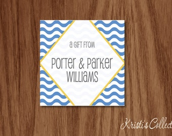 Kids Calling Cards Gift Tags Stickers, Personalized Striped Birthday Gift Inserts Enclosure Cards, A Gift From Cards, Personal Stationery