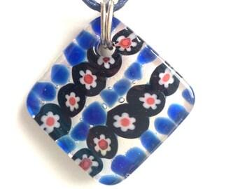 Blue Murano Necklace, Square Murano Necklace, Venetian Necklace, Czech Glass Necklace