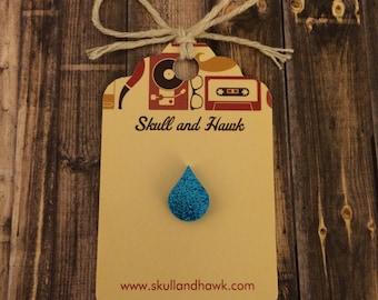 Blue Glitter Rain Drop Lapel Pin / Tie Tack - Laser Cut Acrylic - Tear Drop