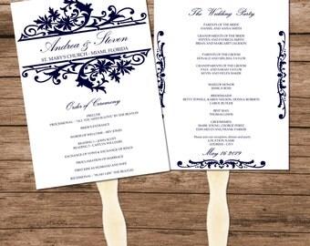Navy Wedding Program Fan Template, Digital Vintage Design, INSTANT DOWNLOAD, Editable Text & Colors