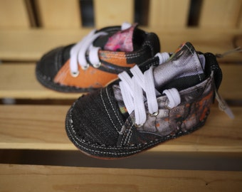 Handmade Baby Boy Shoes 6 - 9 months Denim and Cotton