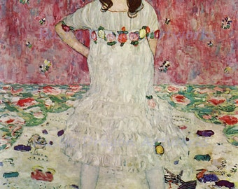 "Gustav Klimt ""Mada Primavesi"" 1912  Reproduction Digital Print  Wall Decor Girl Portrait Flower Dress"